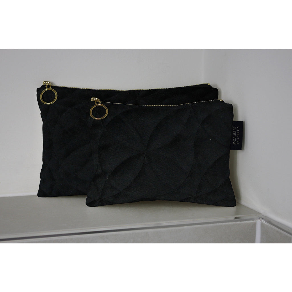 McAlister Textiles Circular Pattern Black Velvet Makeup Bag Set Clutch Bag