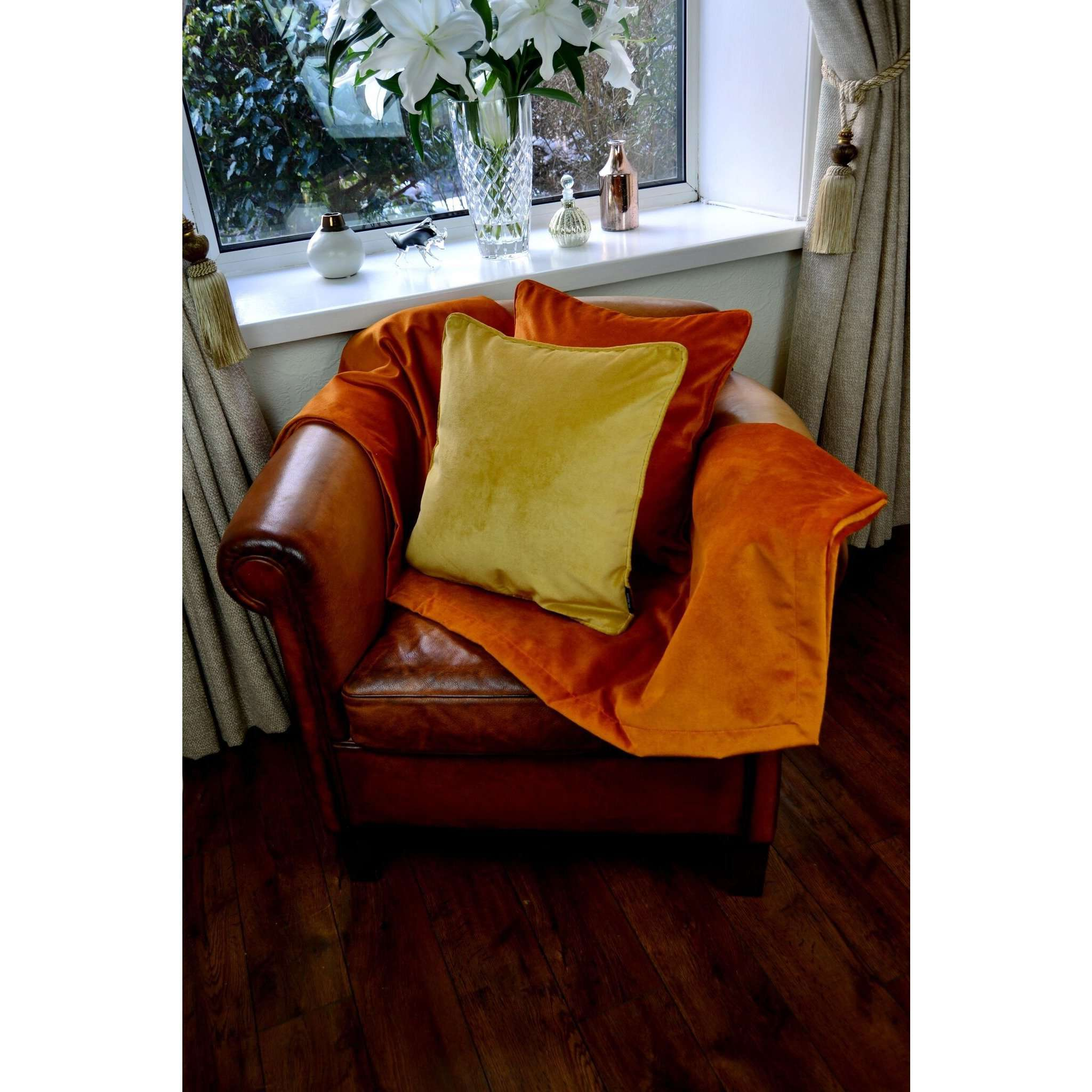 McAlister Textiles Matt Burnt Orange Velvet Cushion Cushions and Covers