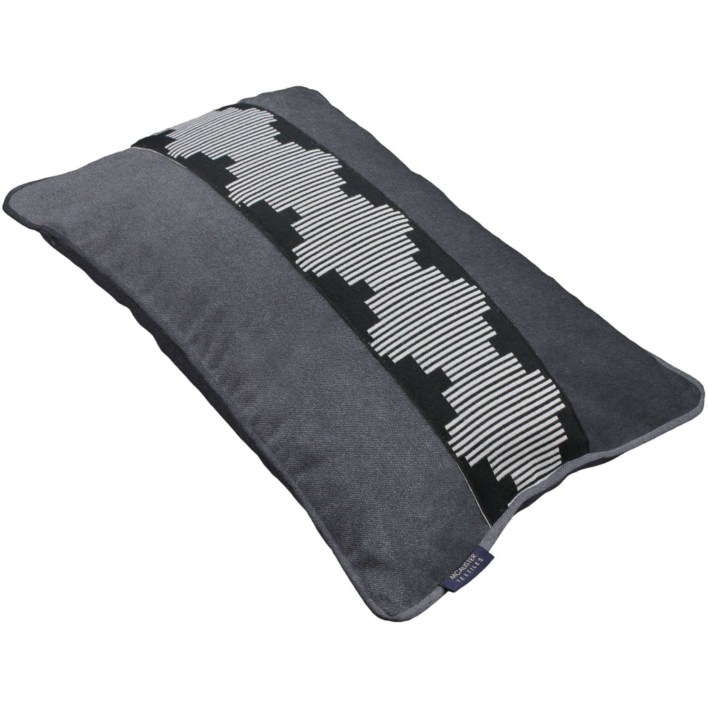 McAlister Textiles Maya Striped Charcoal Grey Velvet Cushion Cushions and Covers