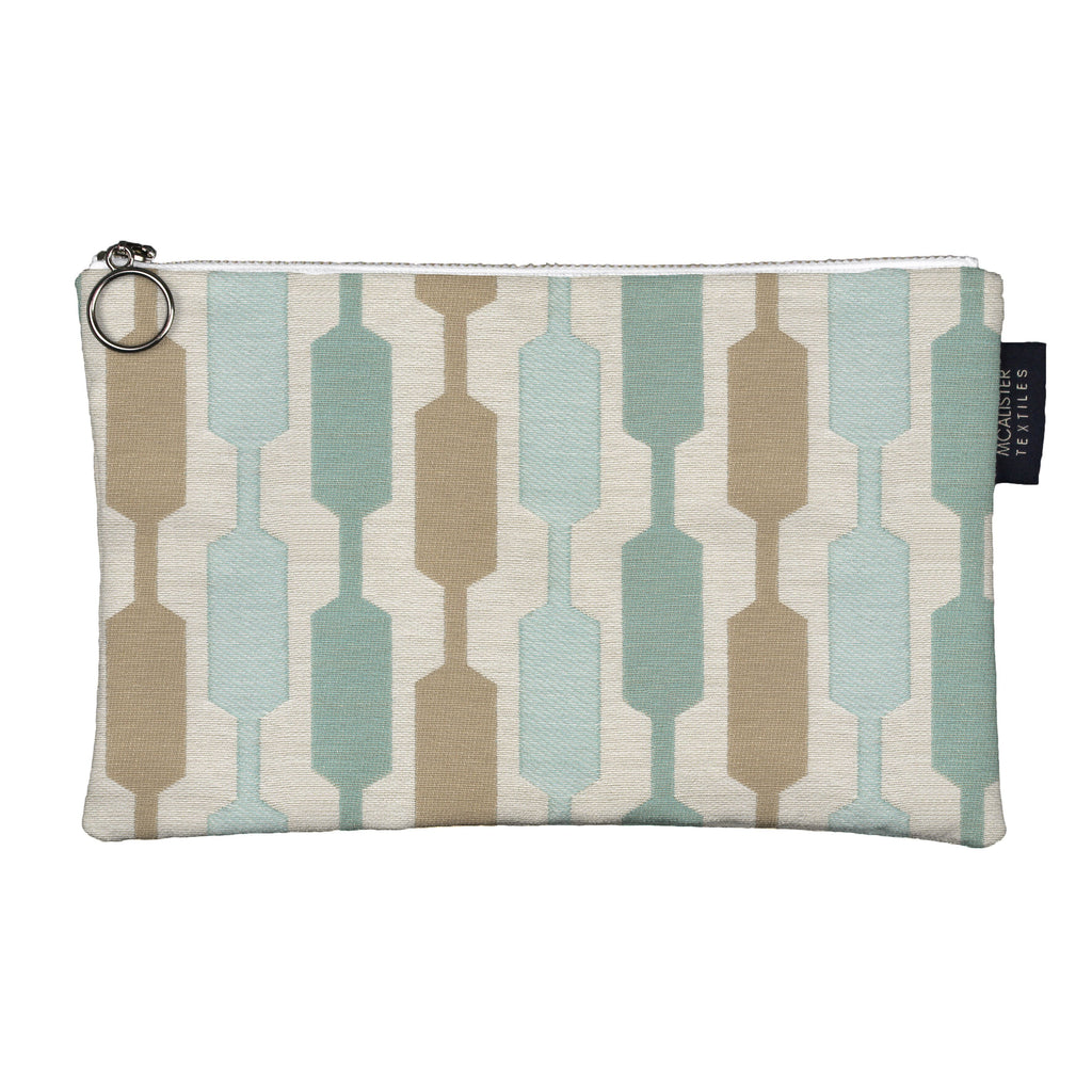 McAlister Textiles Lotta Duck Egg Blue Makeup Bag - Large Clutch Bag