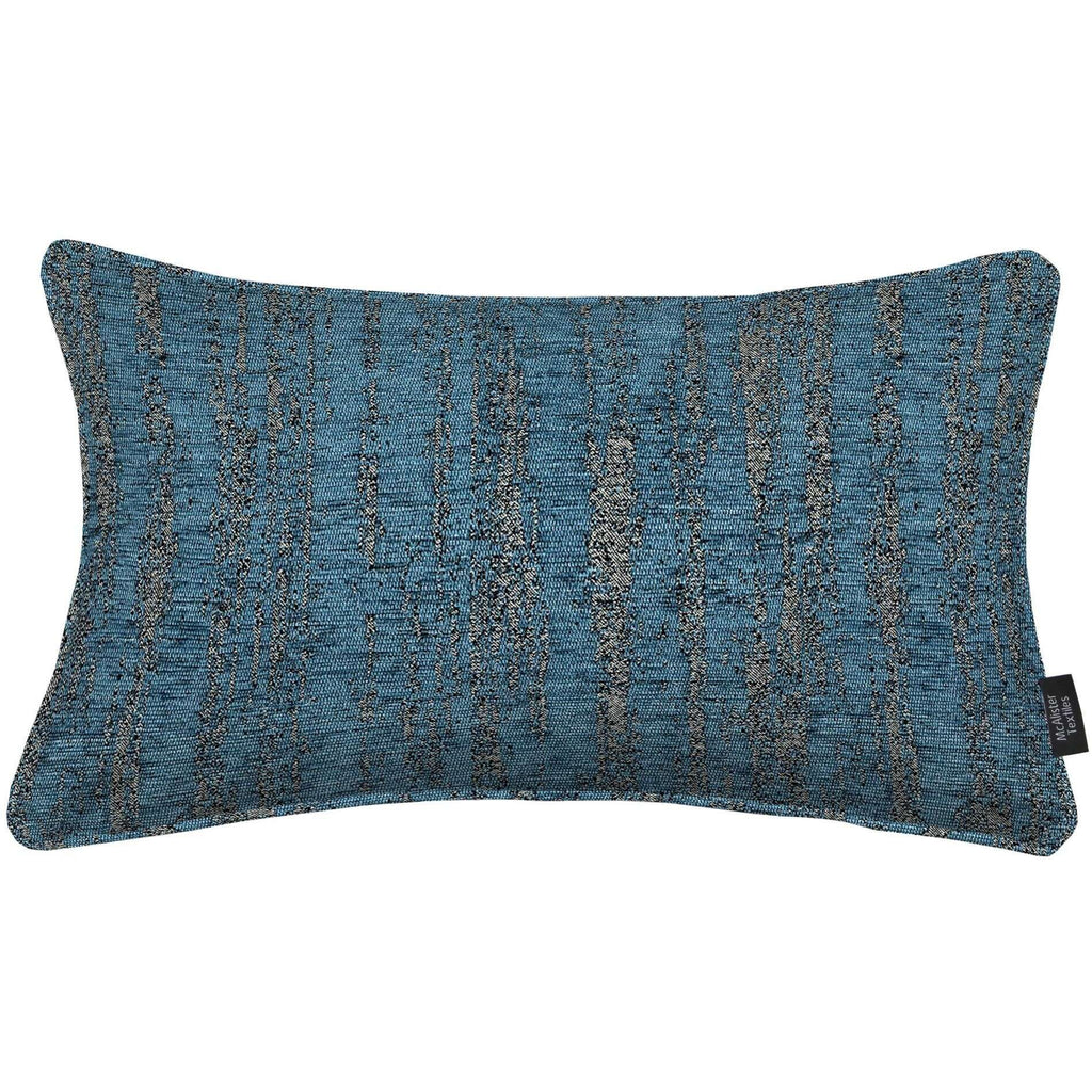 McAlister Textiles Textured Chenille Boudoir Pillow - Denim Blue-Cushions and Covers-