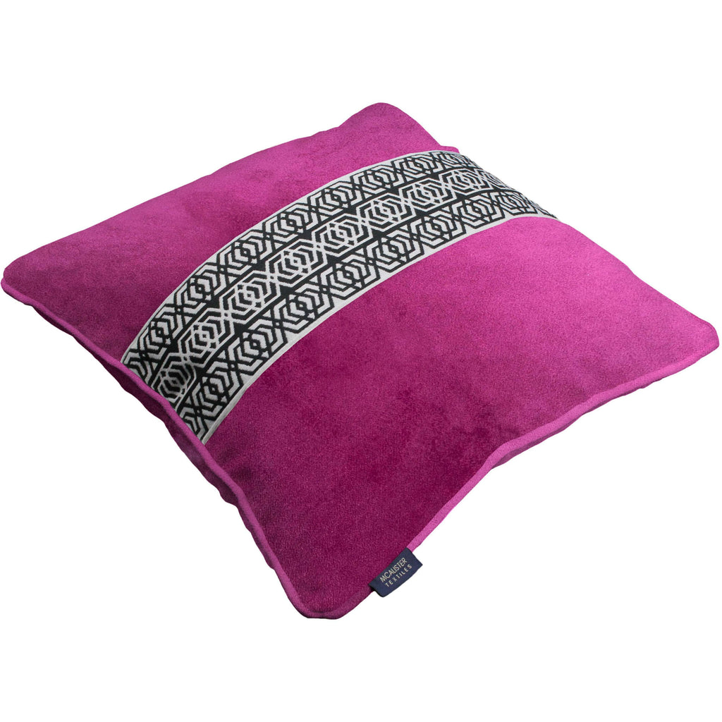 McAlister Textiles Coba Striped Fuchsia Pink Velvet Cushion Cushions and Covers
