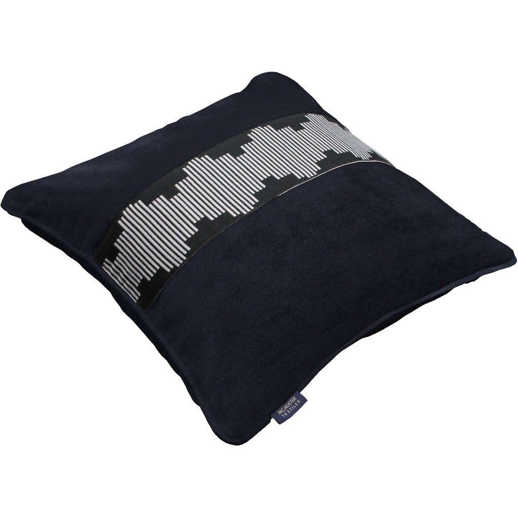 McAlister Textiles Maya Striped Black Velvet Cushion Cushions and Covers