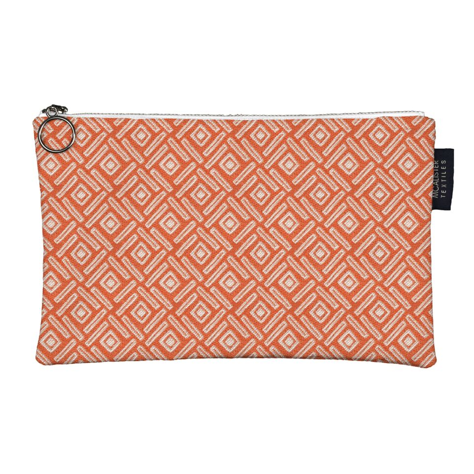 McAlister Textiles Elva Orange + Teal Makeup Bag - Large Clutch Bag