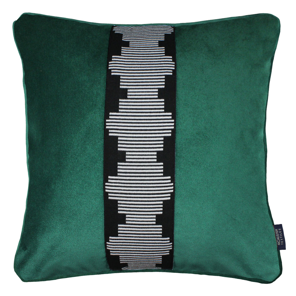 McAlister Textiles Maya Striped Emerald Green Velvet Cushion Cushions and Covers Polyester Filler 43cm x 43cm