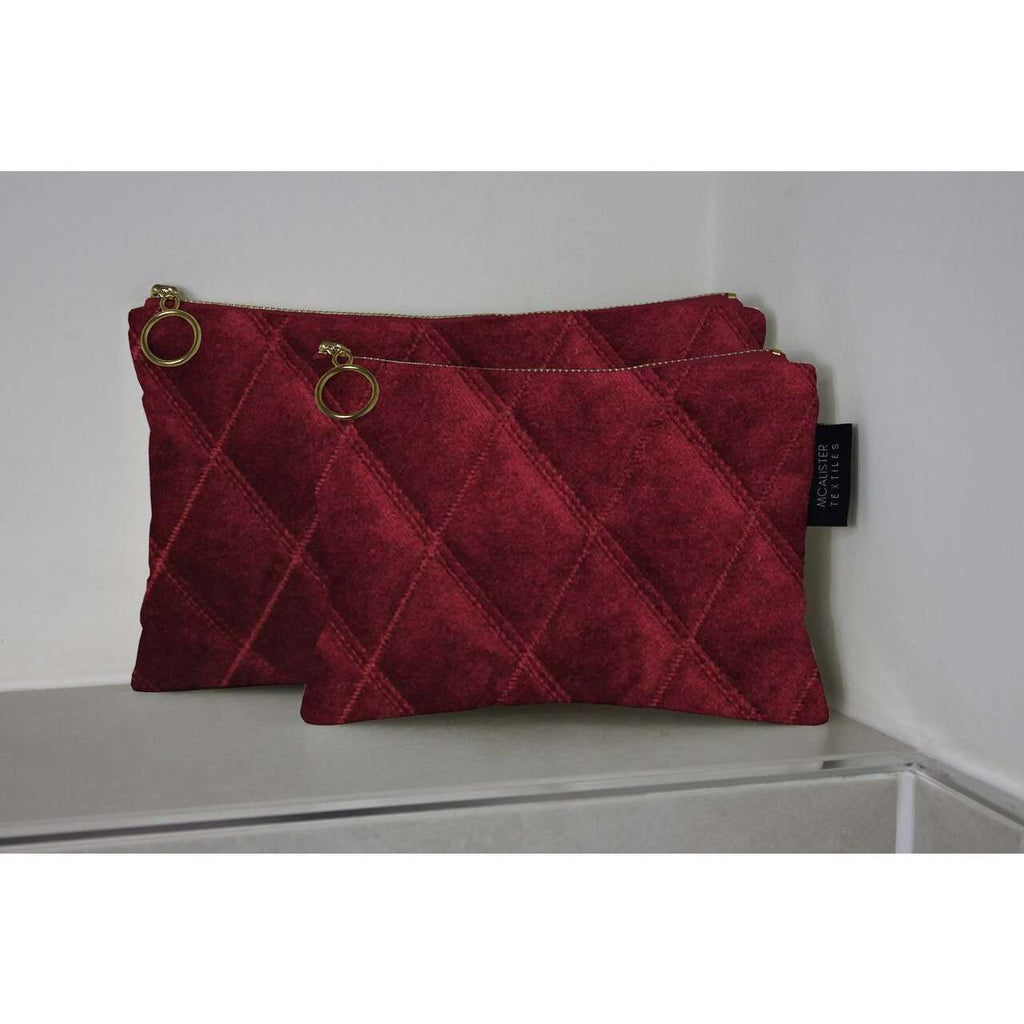 McAlister Textiles Diamond Pattern Red Velvet Makeup Bag Set Clutch Bag