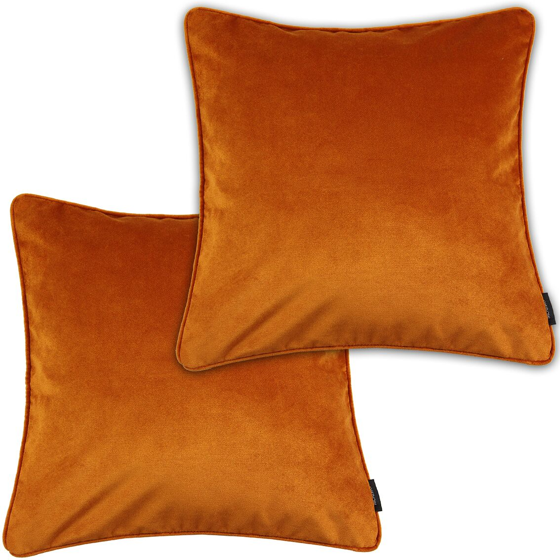 McAlister Textiles Matt Burnt Orange Velvet 43cm x 43cm Cushion Sets Cushions and Covers Cushion Covers Set of 2