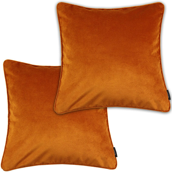 McAlister Textiles Matt Burnt Orange Velvet Cushion Set Cushions and Covers Cushion Covers Set of 2