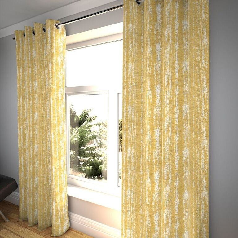 "McAlister Textiles Textured Chenille Mustard Yellow Curtains Tailored Curtains 116cm(w) x 182cm(d) (46"" x 72"")"