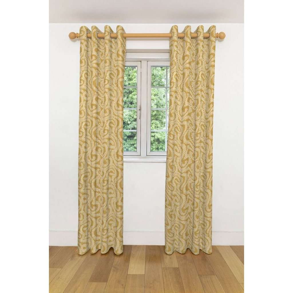 McAlister Textiles Little Leaf Ochre Yellow Curtains Tailored Curtains