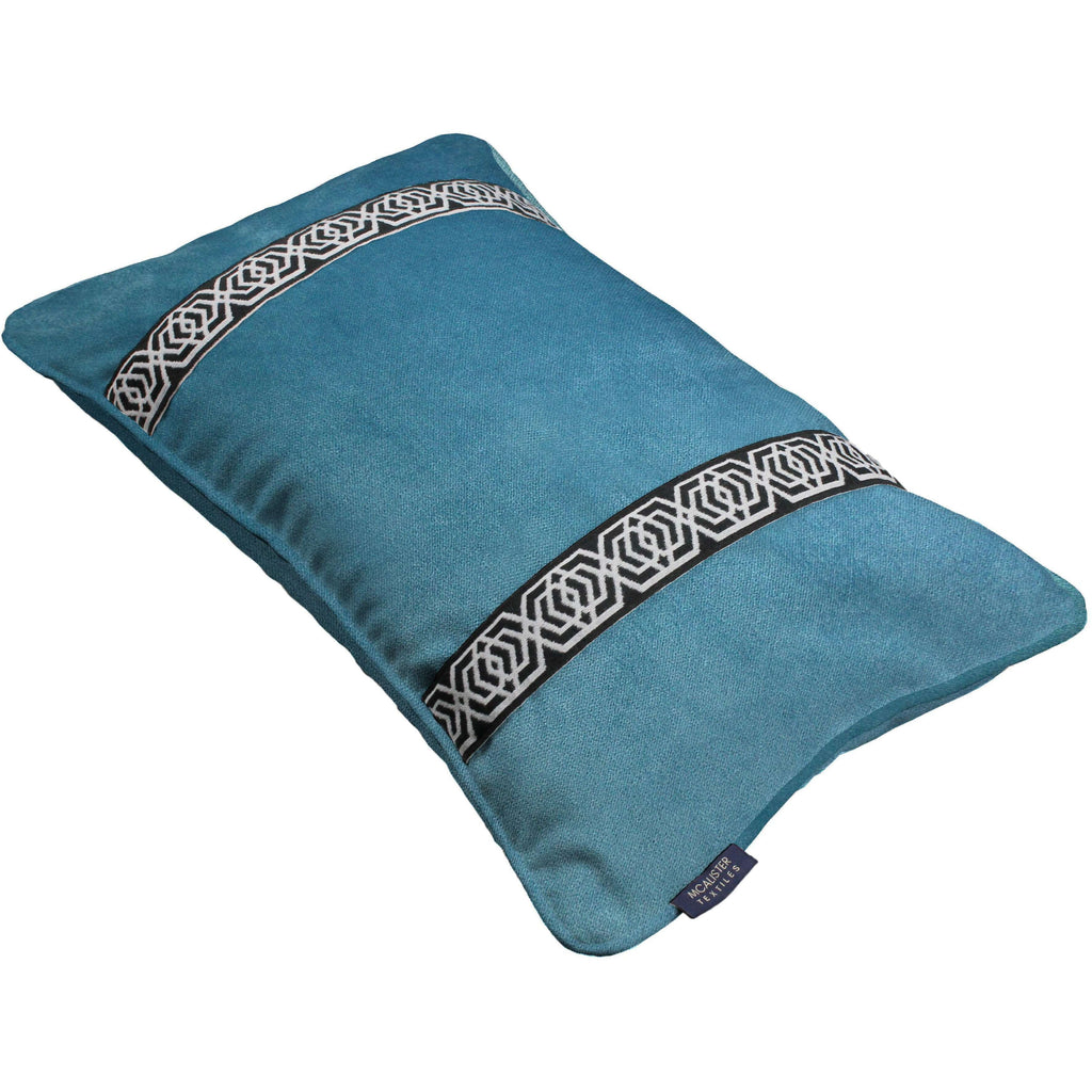 McAlister Textiles Coba Striped Duck Egg Blue Velvet Pillow Pillow