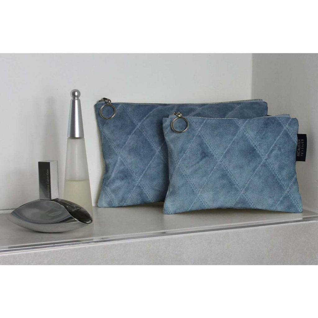 McAlister Textiles Diamond Pattern Blue Velvet Makeup Bag Set Clutch Bag