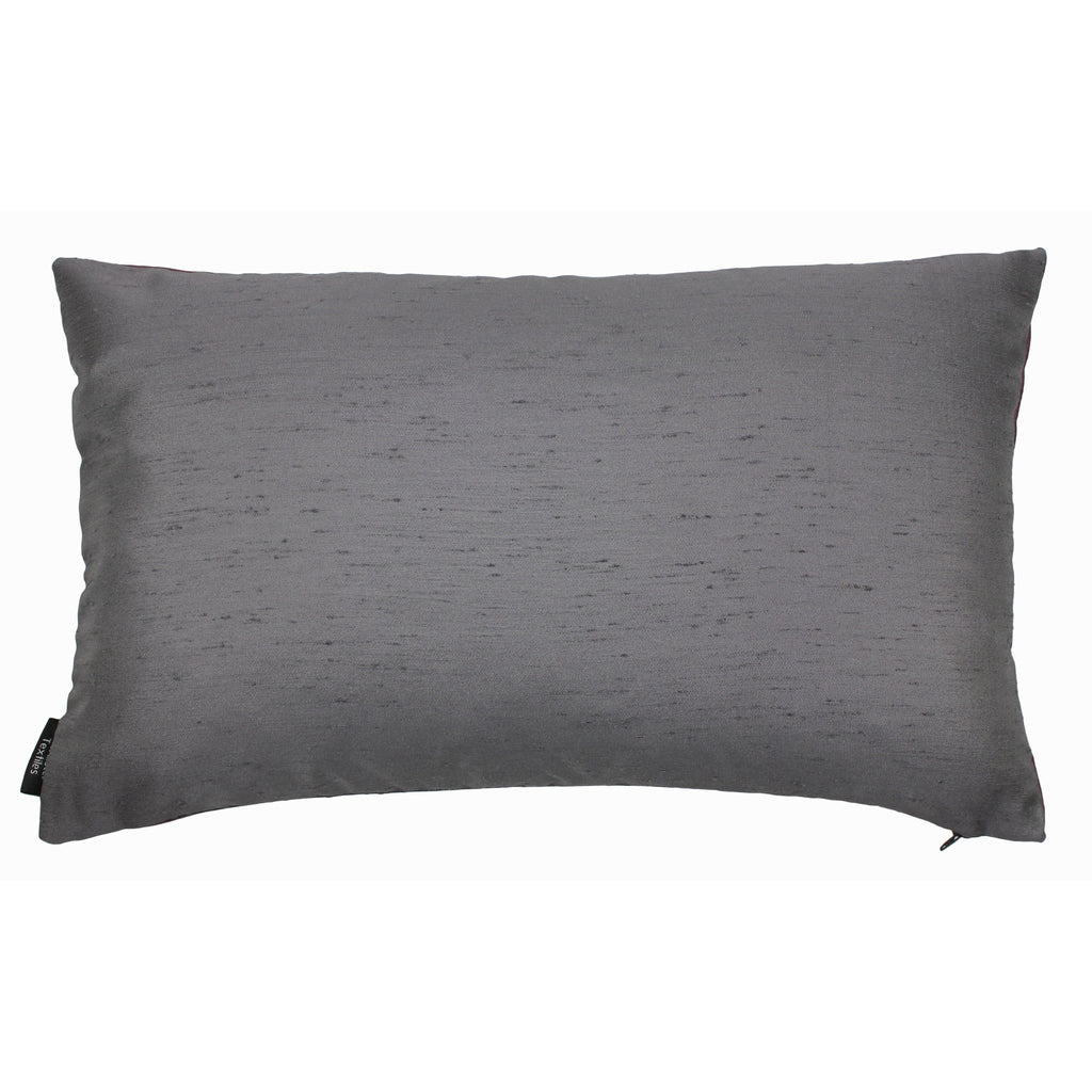 McAlister Textiles Rocco Contrast Faux Silk Purple + Grey Cushion Cushions and Covers