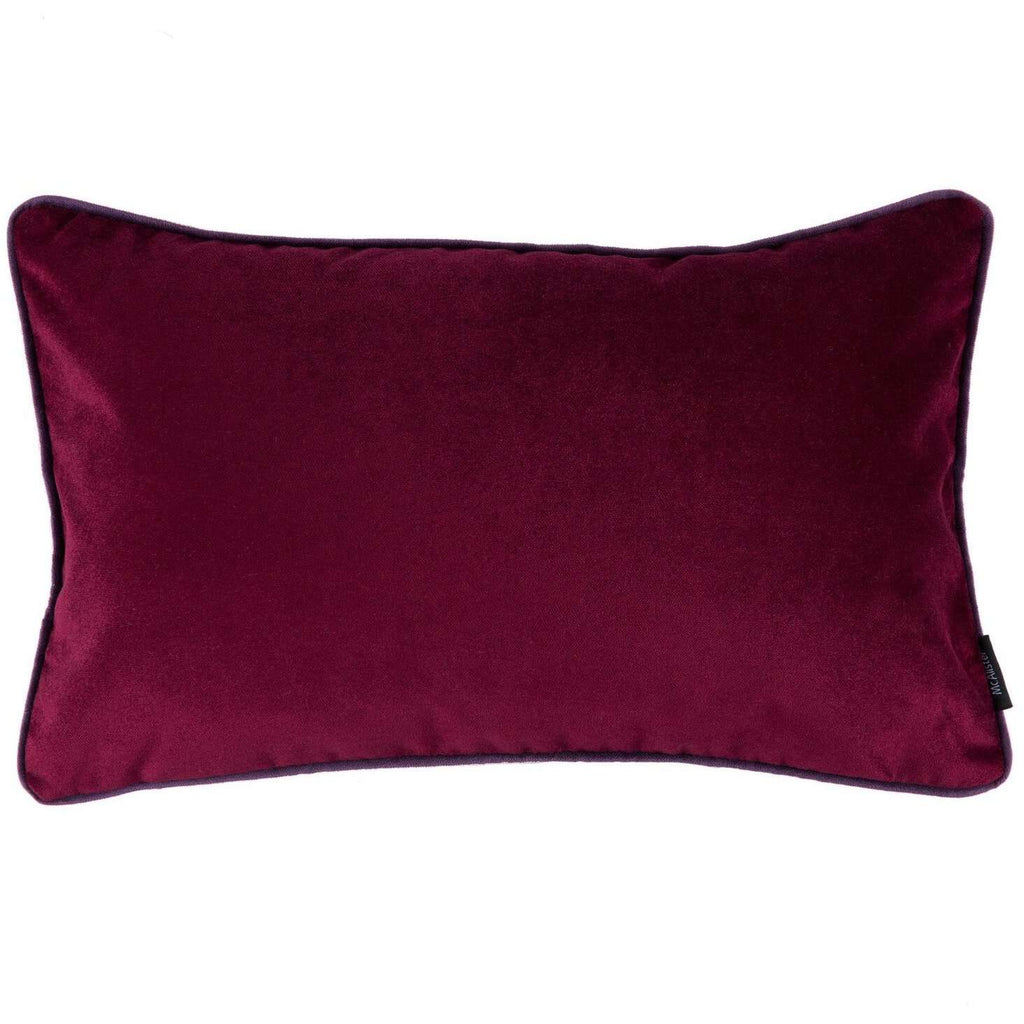 McAlister Textiles Matt Wine Red Velvet Cushion Cushions and Covers Cover Only 50cm x 30cm