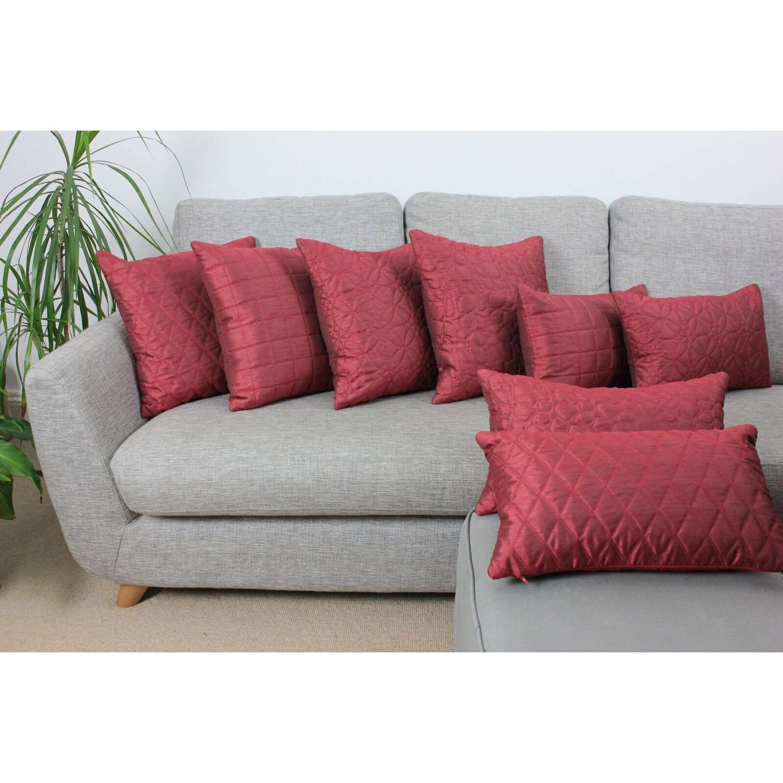 McAlister Textiles Rocco Pebble Quilted Wine Red Silk Cushion Cushions and Covers