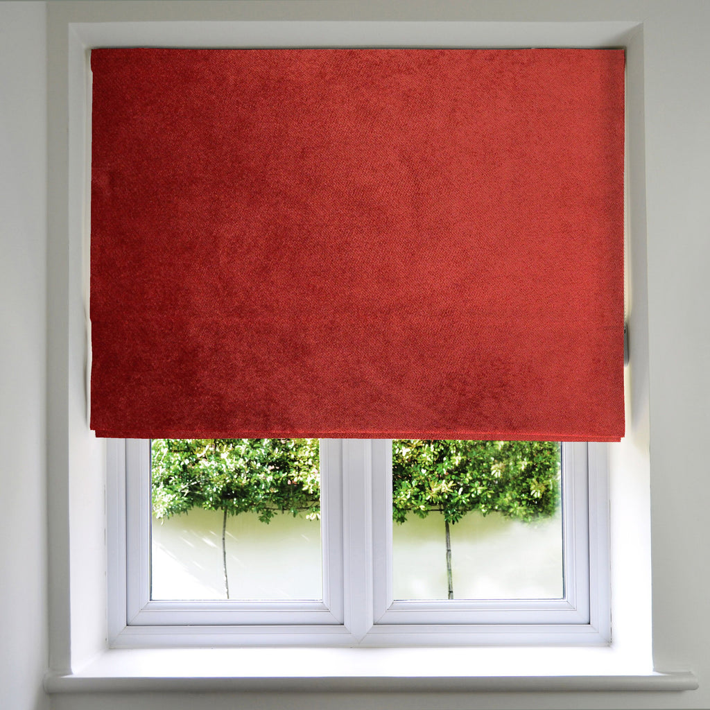 McAlister Textiles Matt Rust Red Orange Velvet Roman Blind Roman Blinds Standard Lining 130cm x 200cm Rust Red