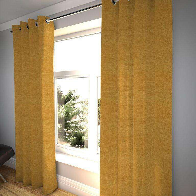 "McAlister Textiles Plain Chenille Mustard Yellow Curtains Tailored Curtains 116cm(w) x 182cm(d) (46"" x 72"")"