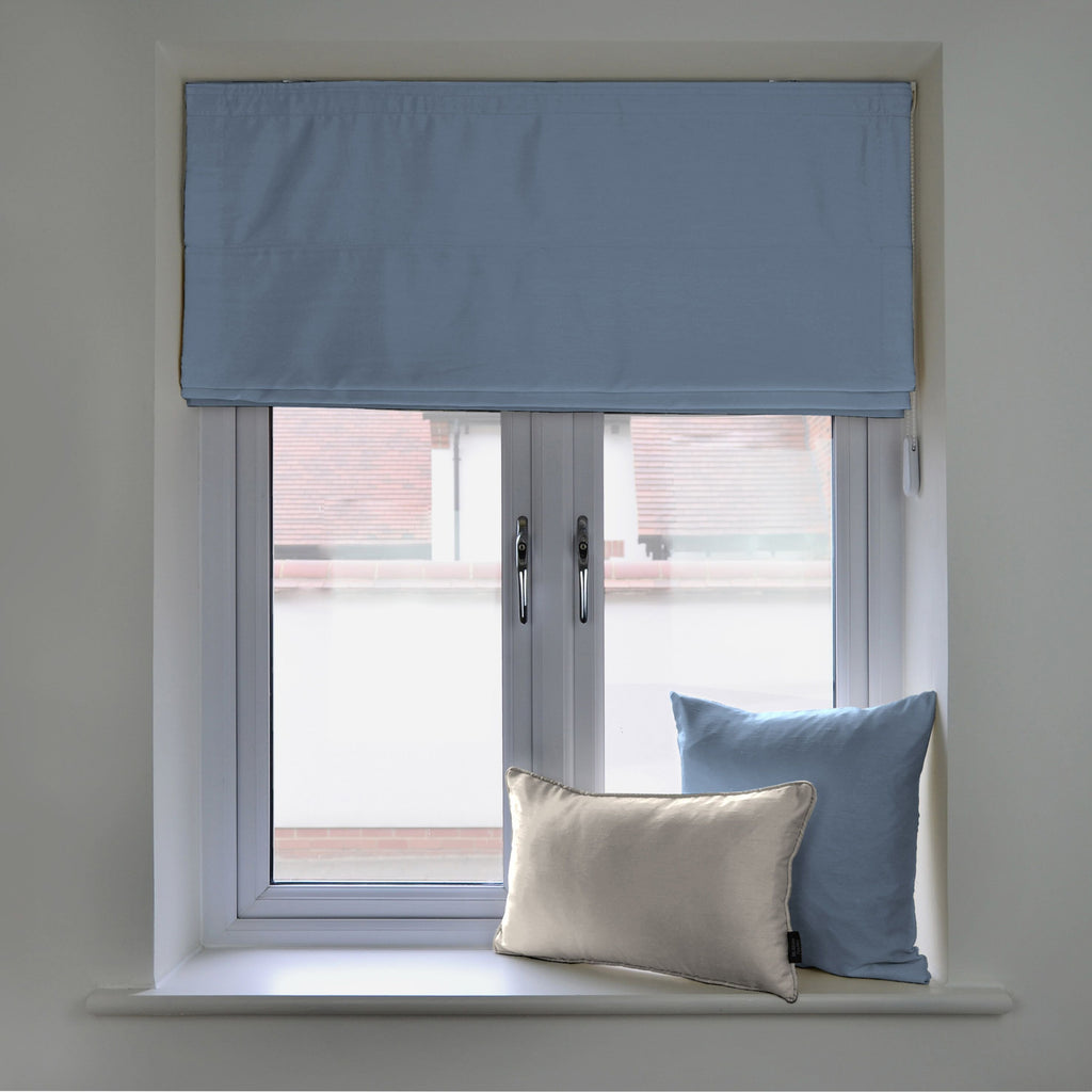 McAlister Textiles Rocco Faux Silk Wedgewood Blue Blinds Roman Blinds Standard Lining 130cm x 200cm