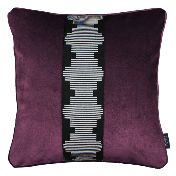 McAlister Textiles Maya Striped Aubergine Purple Velvet Cushion Cushions and Covers Polyester Filler 43cm x 43cm