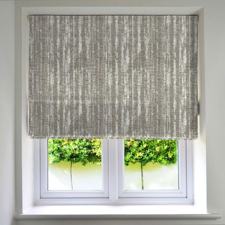 McAlister Textiles Textured Chenille Silver Grey Roman Blinds Roman Blinds Standard Lining 130cm x 200cm