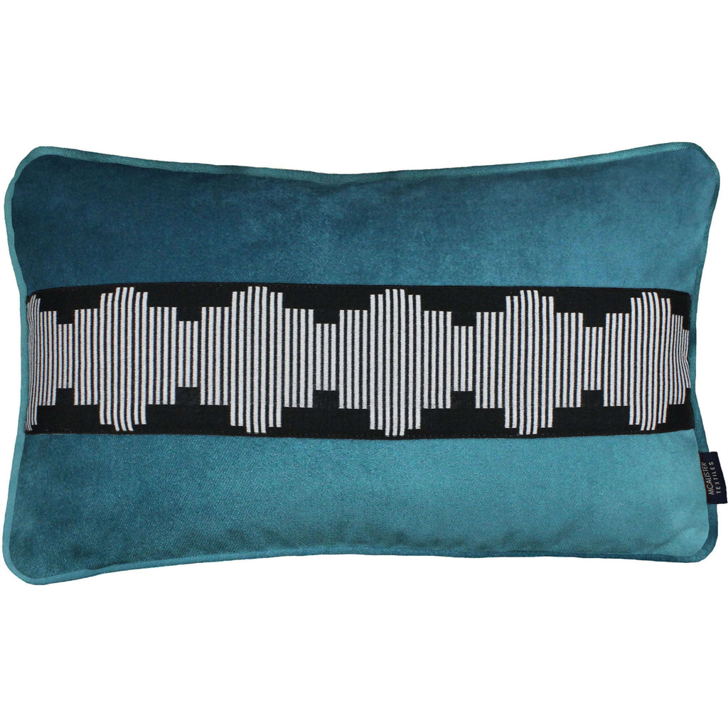 McAlister Textiles Maya Striped Blue Teal Velvet Pillow Pillow Cover Only 50cm x 30cm