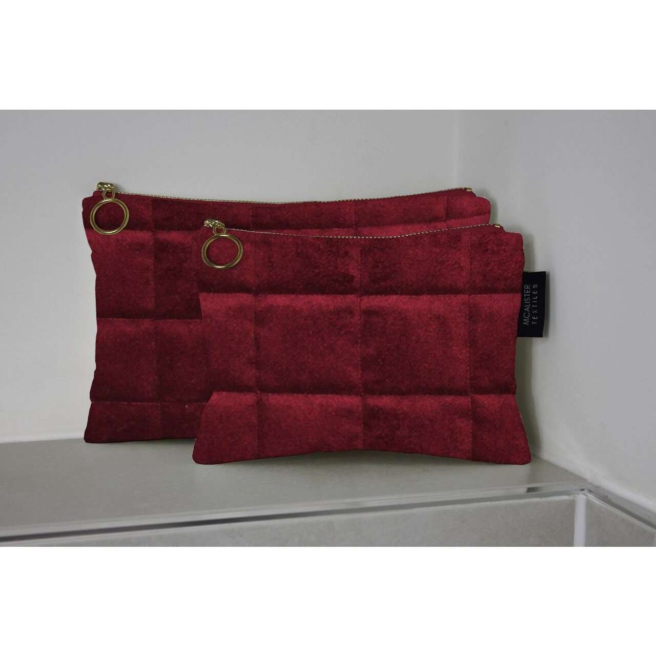 McAlister Textiles Square Pattern Red Velvet Makeup Bag - Large Clutch Bag