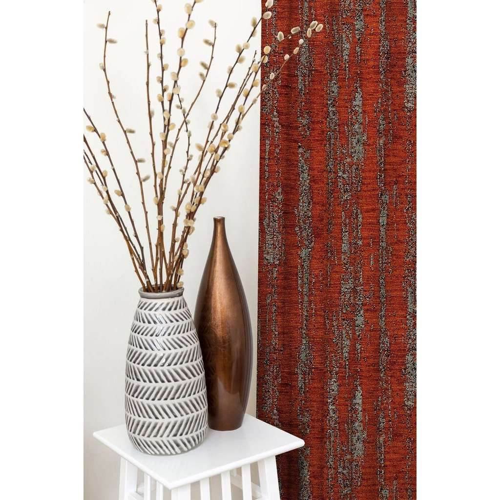 McAlister Textiles Textured Chenille Burnt Orange Curtains Tailored Curtains