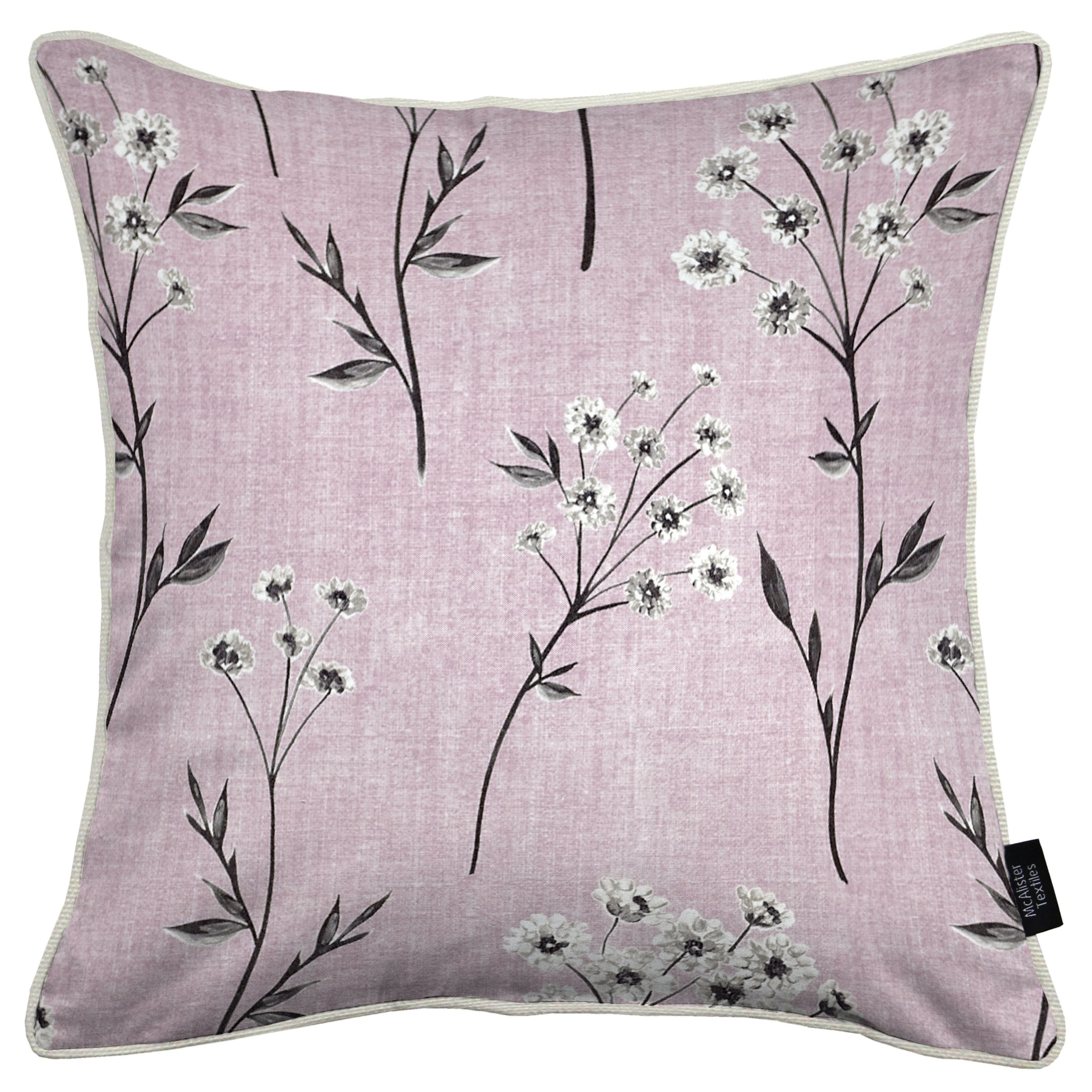 McAlister Textiles Meadow Blush Pink Floral Cotton Print Pillow Pillow Cover Only 43cm x 43cm