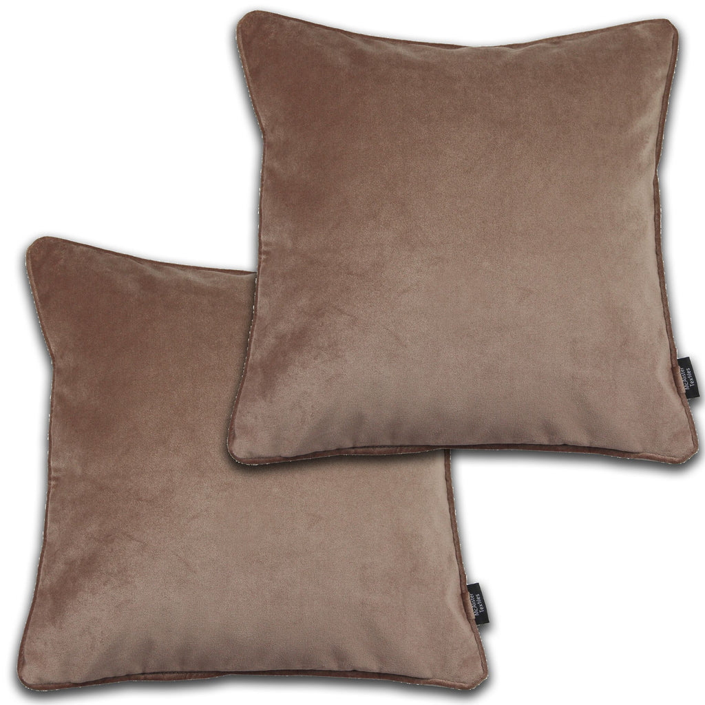 McAlister Textiles Matt Mocha Brown Velvet 43cm x 43cm Cushion Sets Cushions and Covers Cushion Covers Set of 2