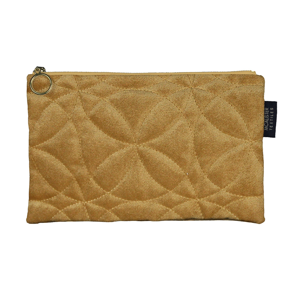 McAlister Textiles Circular Pattern Yellow Velvet Makeup Bag - Large Clutch Bag