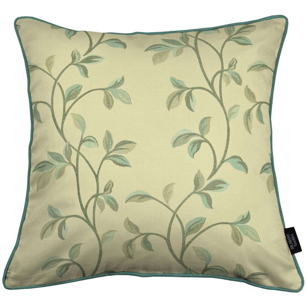 McAlister Textiles Annabel Floral Duck Egg Blue Cushion Cushions and Covers Cover Only 43cm x 43cm