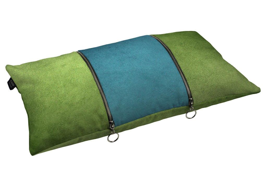 McAlister Textiles Decorative Double Zip Teal + Green Velvet Pillow Pillow