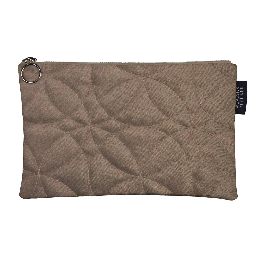 McAlister Textiles Circular Pattern Mocha Velvet Makeup Bag - Large Clutch Bag