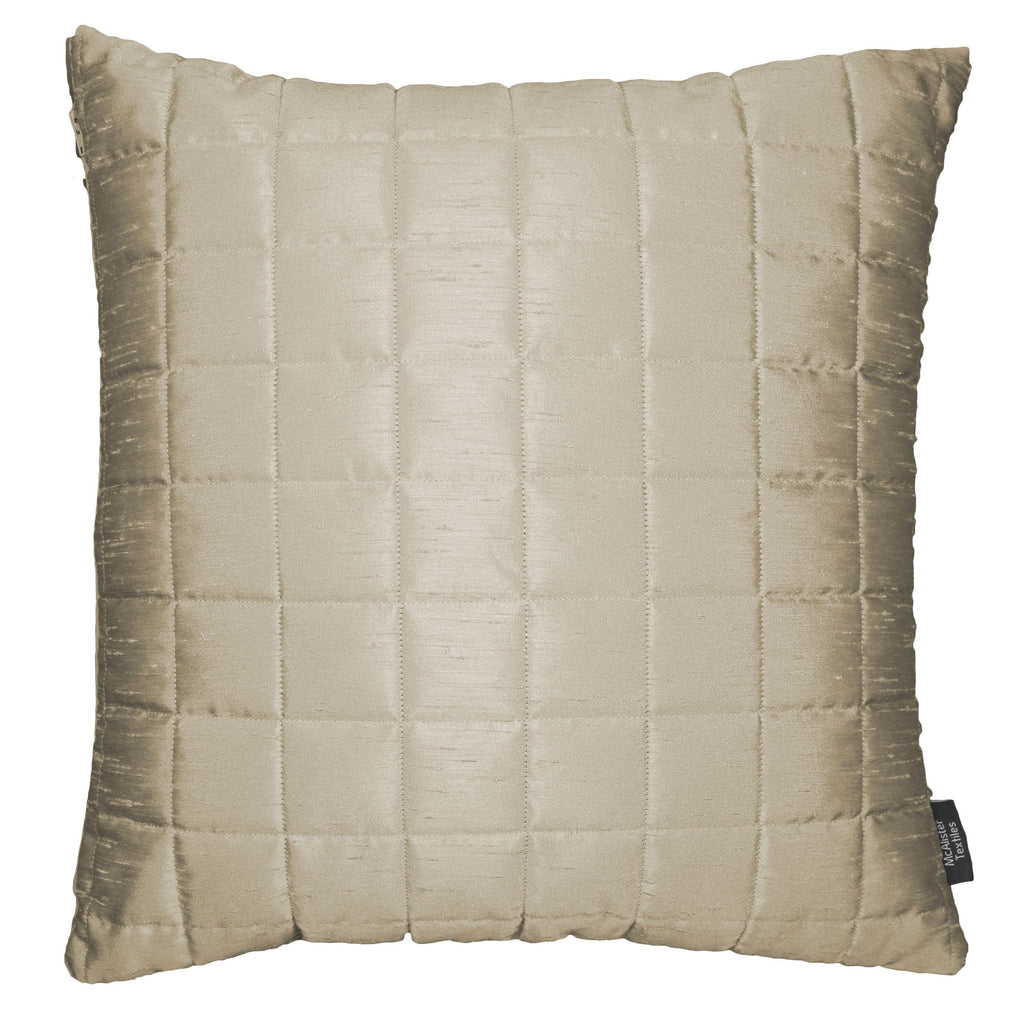McAlister Textiles Rocco Square Quilted Ivory Silk Cushion Cushions and Covers Cover Only 43cm x 43cm
