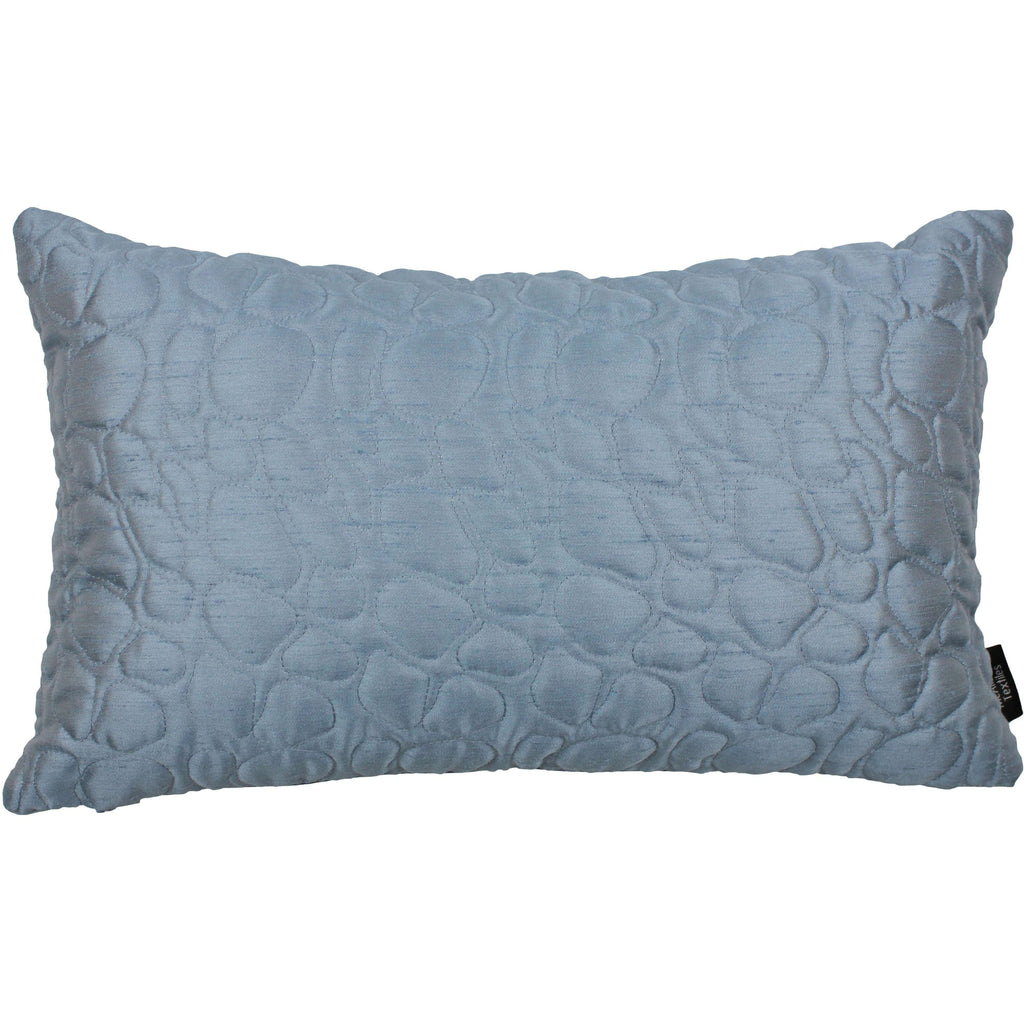 McAlister Textiles Rocco Pebble Quilted Wedgewood Blue Silk Pillow Pillow Cover Only 50cm x 30cm