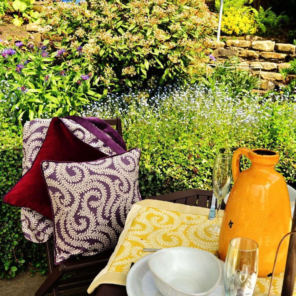 McAlister Textiles Little Leaf Aubergine Purple Cushion Cushions and Covers