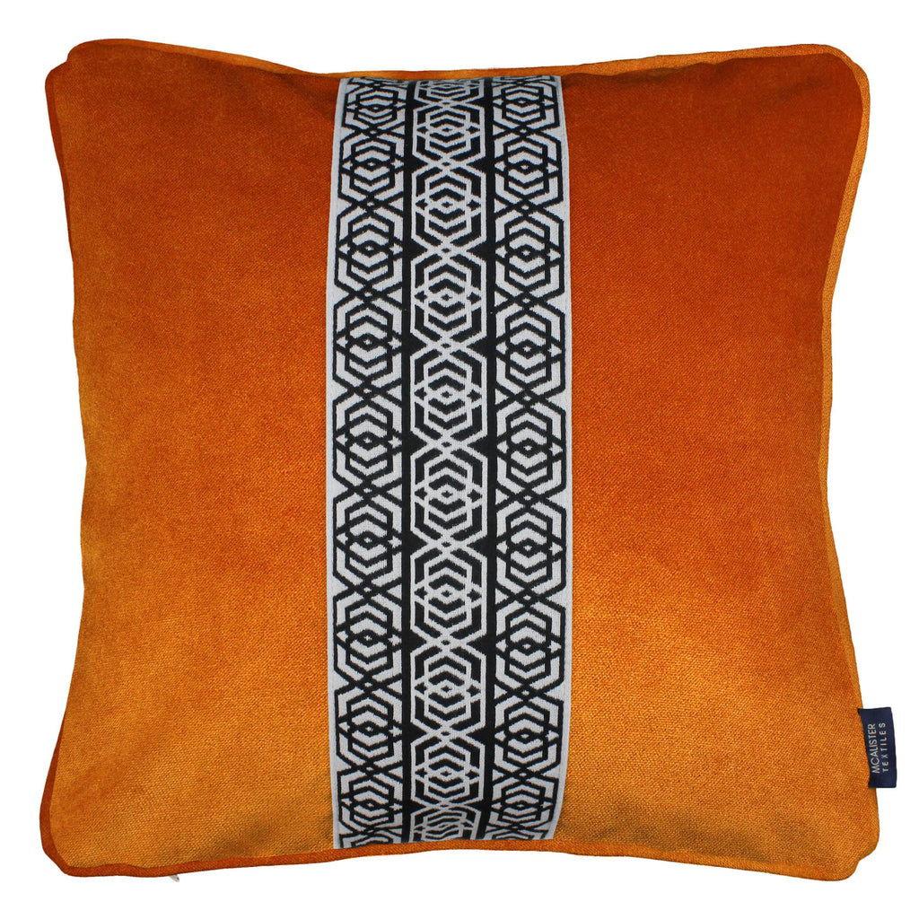 McAlister Textiles Coba Striped Burnt Orange Velvet Cushion Cushions and Covers Polyester Filler 43cm x 43cm