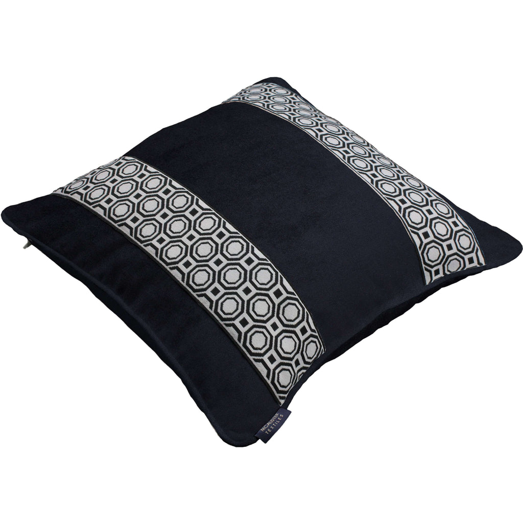 McAlister Textiles Cancun Striped Black Velvet Pillow Pillow