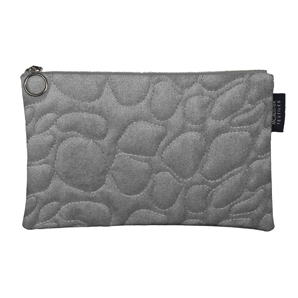 McAlister Textiles Pebble Pattern Silver Velvet Makeup Bag - Large Clutch Bag