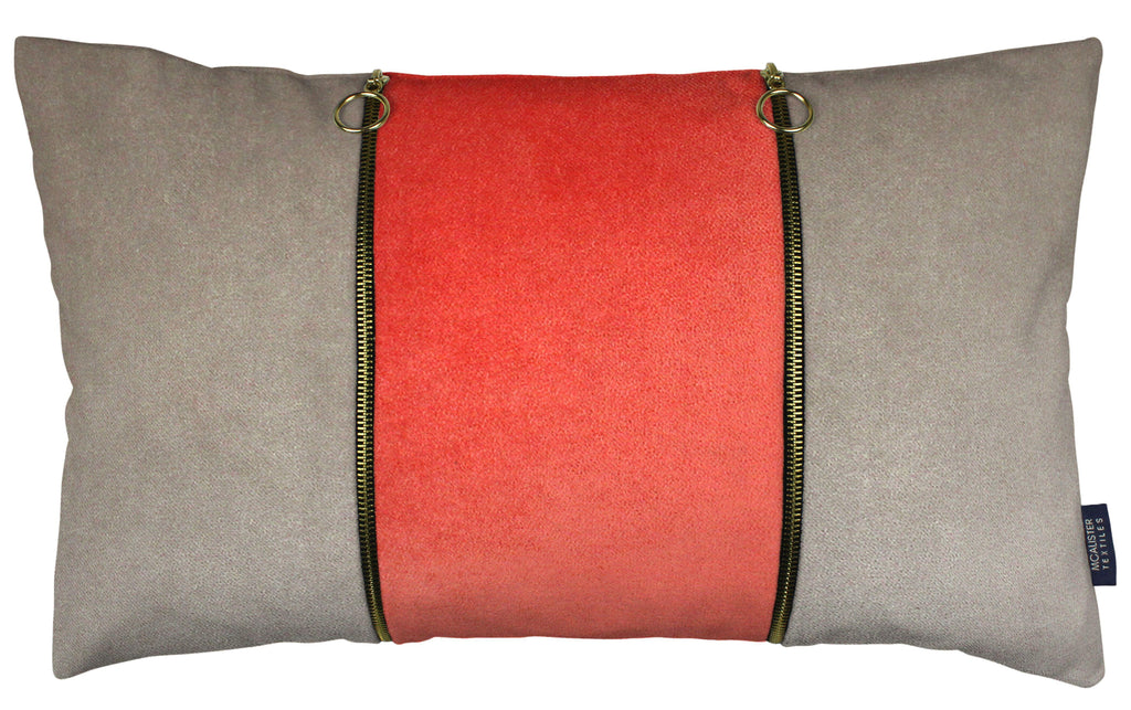 McAlister Textiles Decorative Double Zip Coral + Beige Velvet Pillow Pillow Cover Only 50cm x 30cm
