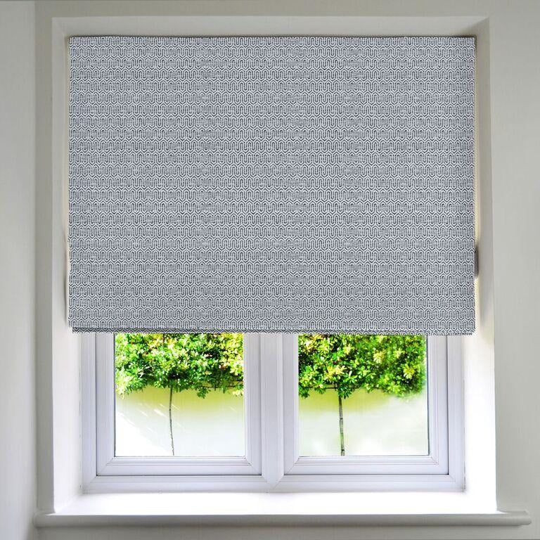 McAlister Textiles Costa Rica Black + White Roman Blind Roman Blinds Standard Lining 130cm x 200cm