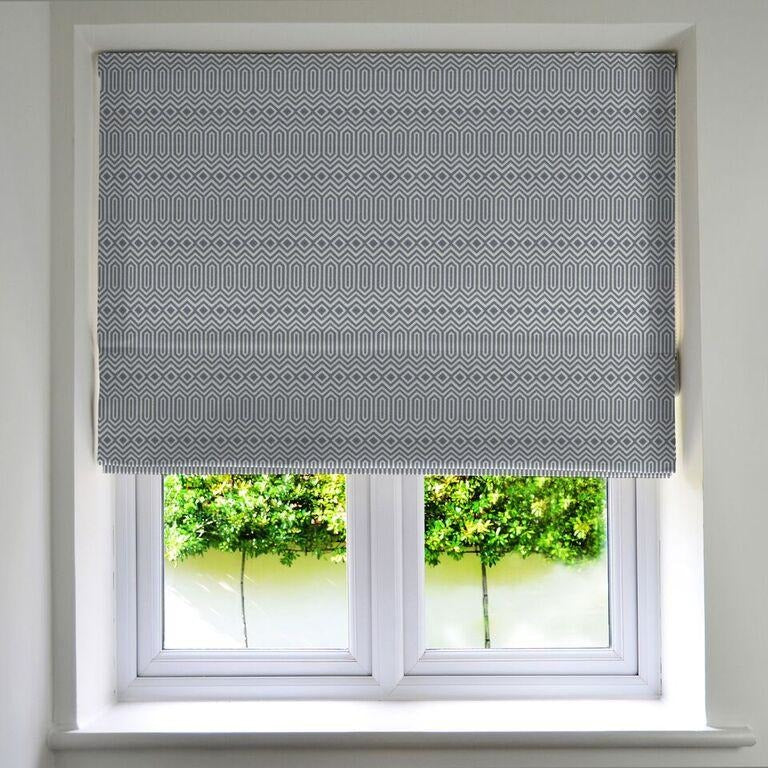 Colorado Geometric Roman Blind - Wedgewood Blue-Roman Blinds-