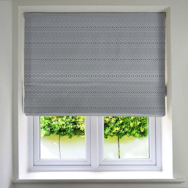 McAlister Textiles Colorado Geometric Navy Blue Roman Blind Roman Blinds