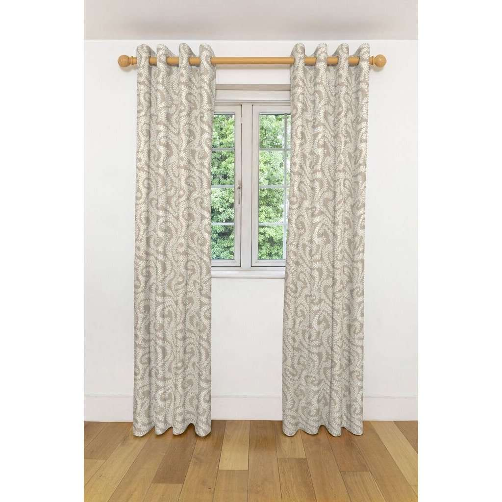 McAlister Textiles Little Leaf Pale Beige Curtains Tailored Curtains