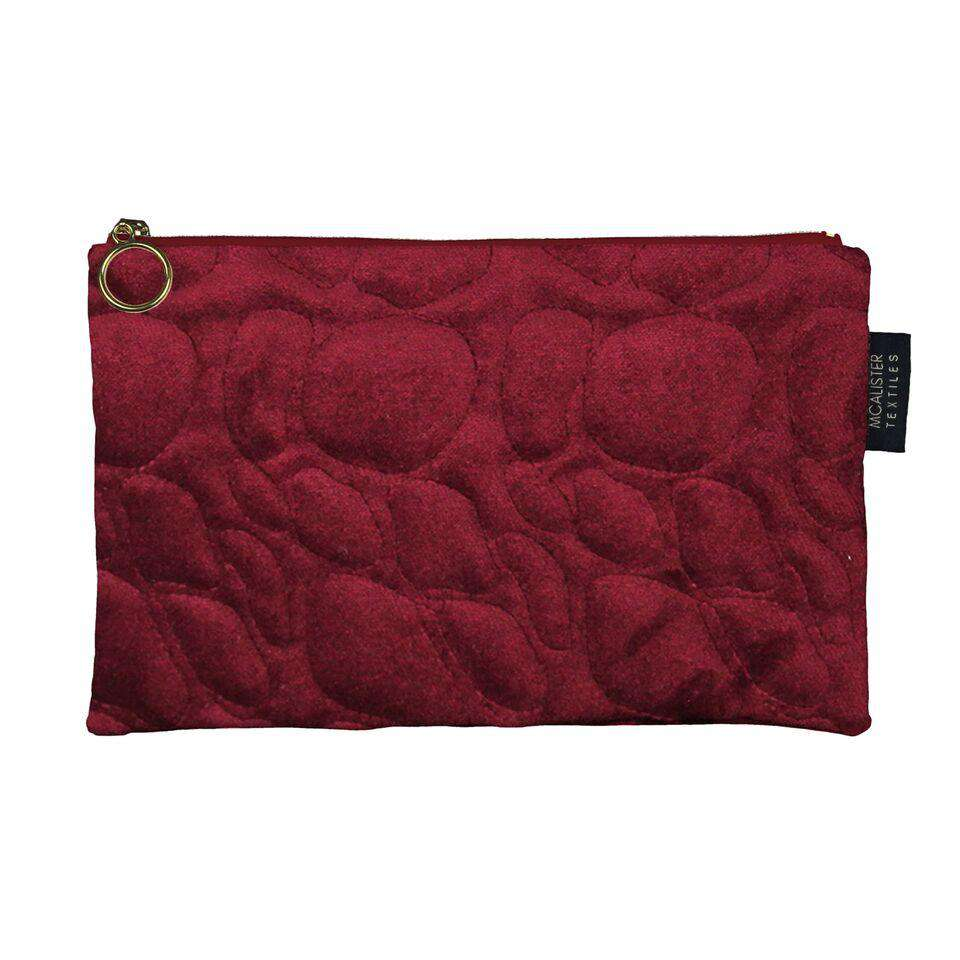 McAlister Textiles Pebble Pattern Red Velvet Makeup Bag - Large Clutch Bag
