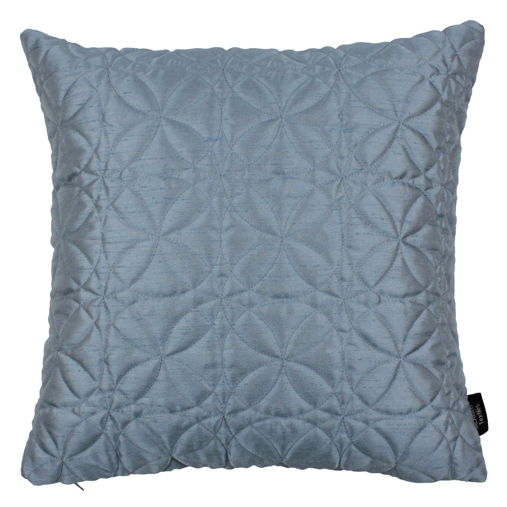 McAlister Textiles Rocco Round Quilted Wedgewood Blue Silk Cushion Cushions and Covers Cover Only 43cm x 43cm