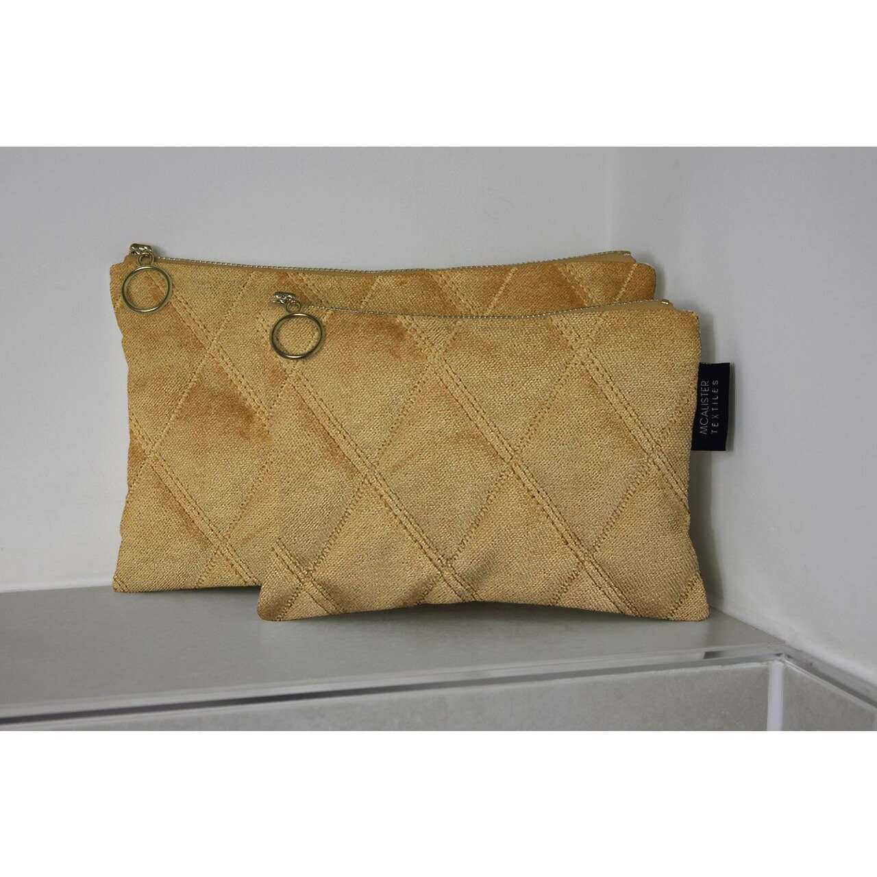McAlister Textiles Diamond Pattern Yellow Velvet Makeup Bag Clutch Bag