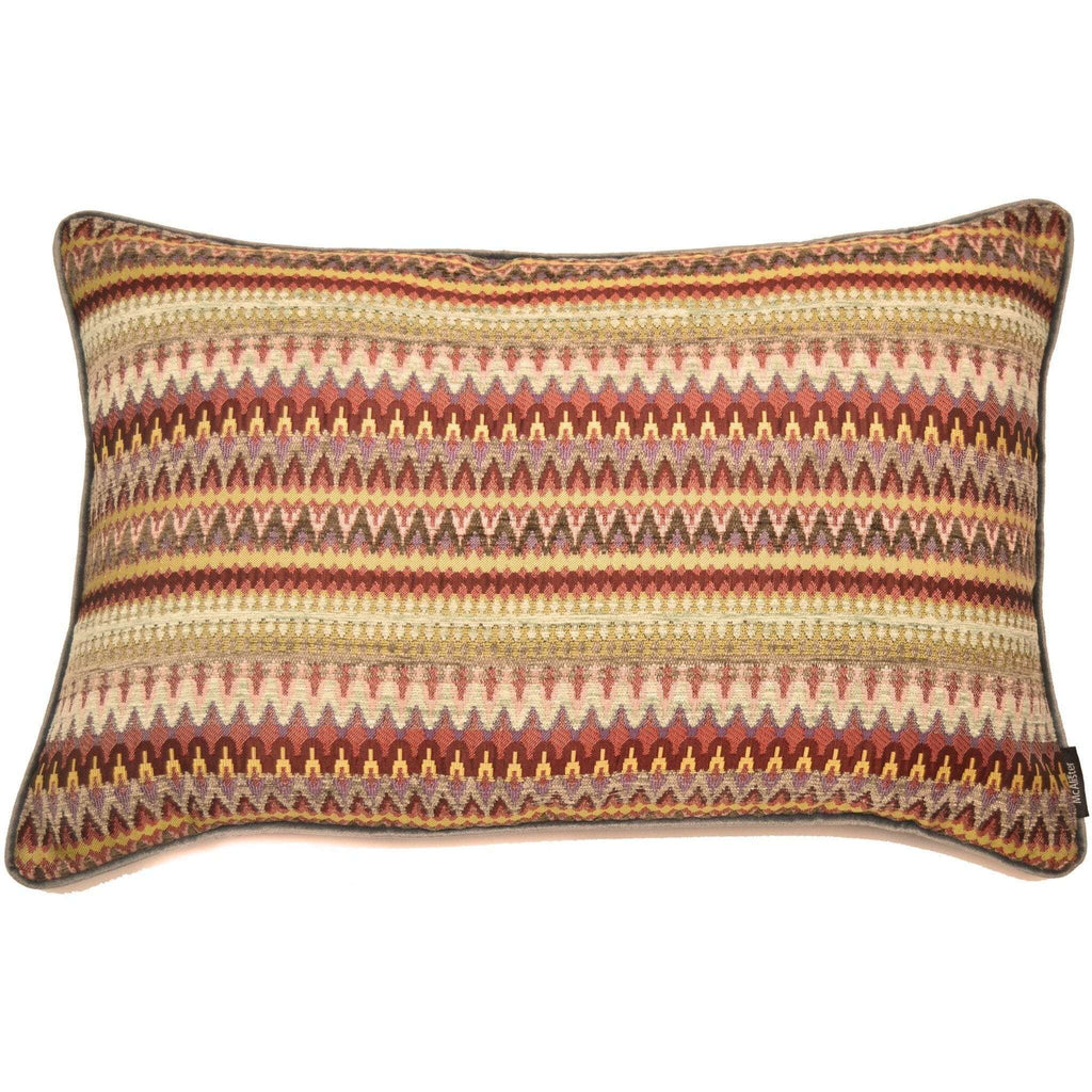 McAlister Textiles Curitiba Geometric Boudoir Pillow - Red + Plum Purple Cushions and Covers