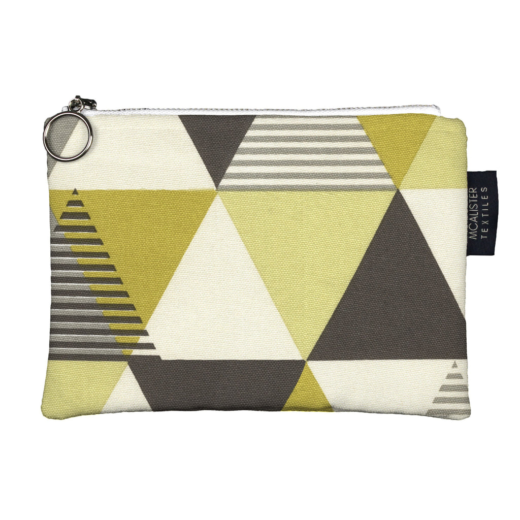 McAlister Textiles Vita Yellow + Grey Makeup Bag Clutch Bag