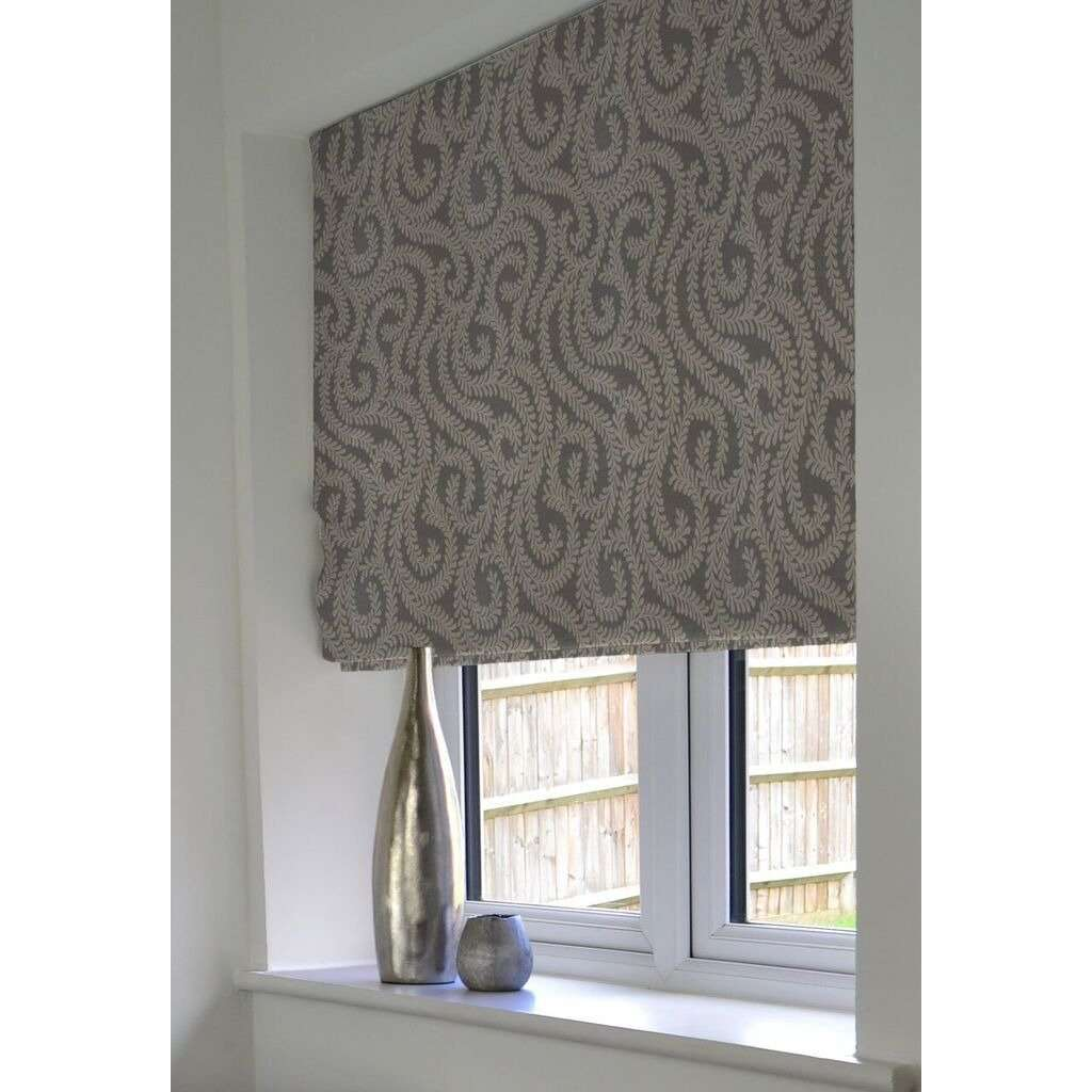 McAlister Textiles Little Leaf Charcoal Grey Roman Blind Roman Blinds